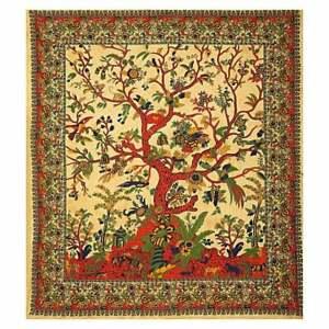 Yellow Tie Dye Tree Of Life Wall Hanging Mandala Bohemian Hippie Indian Tapestry