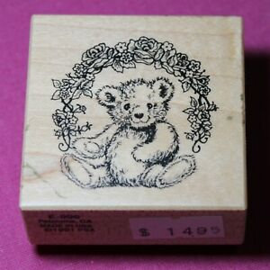 Vintage PSX Wooden Rubber Ink Stamp 4 Card Making, Teddy Bear/Floral Arch, USA