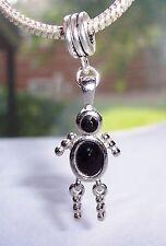 Black Stone Child Baby Son Daughter Girl Boy Dangle Charm for European Bracelets