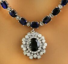 38.90 Carat Natural Sapphire 14K White Gold Diamond Necklace