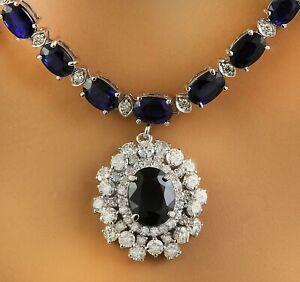 38.85 Carat Natural Sapphire 14K White Gold Diamond Necklace