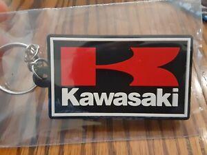 "Kawasaki Motorcycle Keychain Key Chain red white black 2.5"" rubber"