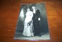 Rare Antique RPPC Real Photo Postcard AZO 1904-1918 Elegant Couple Roses Clothes