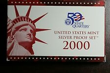 2000-S US Mint Silver Proof Set Includes Silver State Quarter Proofs - Box & COA