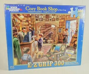 White mountain 300 Pc Jigsaw Puzzle Cozy Book Shop E-Z Hold 18x24, New Sealed