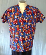 Fresh Approach Blue Large Scrub Top Teddy Bear Firemen Cotton
