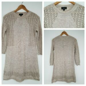 ❤️TOPSHOP beige knitted shift jumper dress size 10 275