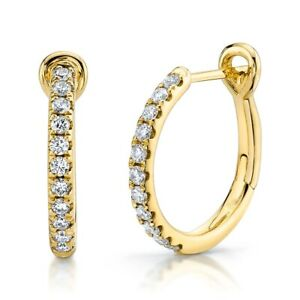 """14KT Yellow Gold Round Diamond Hoops Earrings 0.60"""" Diameter 0.26CT Natural"""