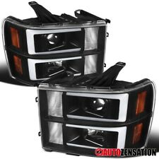 For 2007-2013 GMC Sierra 1500 HD Denali LED DRL Bar Black Projector Headlights
