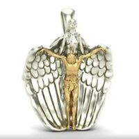 Exquisite Gold and Silver Jesus And Angel Wing Pendant Couples Necklace Pendant