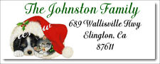 Christmas Puppy Amp Kitty Cat Design 84 Return Address Labels Glossy Or Matte