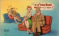 Soldier Blind Date WW2 Just Missed 1940's Era Humor Vintage Postcard