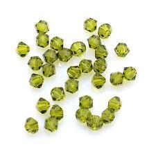 Perles Toupies 4mm Bicones en CRISTAL AUTRICHIEN - 5301 Olivine - 20 pièces