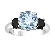 Aquamarine Three-Stone Engagement Ring 14k White Gold  2.60 Carat Unique