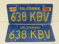 Set Pair 1970's California Metal License Plates 638 KBV Blue yellow DMV Clear