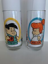 Vintage 1986 Pizza Hut Flintstone Kids Glasses - Wilma & Freddy