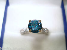 14K WHITE GOLD ENHANCED BLUE AND WHITE DIAMONDS ENGAGEMENT RING 0.85CT TWO TONE