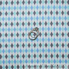 BonEful Fabric FQ Cotton Quilt White Blue Gray Small Baby Boy Argyle Diamond Dog