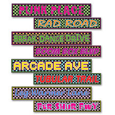 1980's 80's Decade Theme Party STREET SIGN CUTOUT DECORATIONS Punk, Rad, Arcade