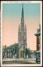 TORONTO ON CANADA St James Cathedral Vintage Church Town View Postcard Old PC