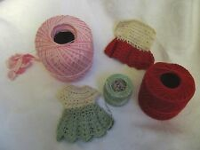 Lot of 3 Spools Vintage Crochet Thread with Dress Potholder Unfinished Project