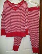 Victoria's Secret Women's 2 Pc Pajama Set L/S Round Collar Size Large Red Pink