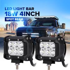 2x 4INCH 18W CREE LED WORK LIGHT BAR SPOT FOR JEEP WRANGLER JK TJ YJ LJ FOG LAMP