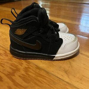 Nike Air Jordan I 1 Mid Black White Dipped Toe 644507-021 BT Toddler sz 5C