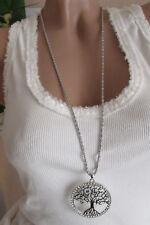 Collar Mujer Círculos Con Árbol largos Estrás Plata Pendiente Colgante