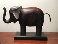 """Vintage Elephant Wood and Iron sculpture on Base 7""""H 10""""L 2.5""""W"""