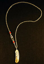 Goro's Feather Necklace Sterling 925 Silver Feather Pendants & Beaded Chain
