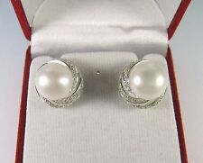 11.2 MM PEARL & WHITE SAPPHIRE EARRINGS -WHITE GOLD over 925 STERLING SILVER