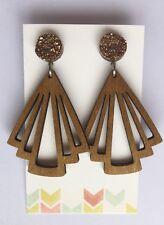 Statement Dangle Earrings, Bronze Faux Druzy & Wood Fan, Surgical, Light