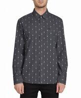 Volcom Mens Shirt Gray Size 2XL Modern Fit Printed Pocket Button Up $65 #338