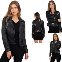 Womens Ladies Floral Embroidered Studded Detail Faux Leather Biker Jacket Coat
