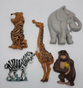 Set 5 Home Interiors Burwood Jungle Safari Zoo Animals Wall Plaques Nursery USA