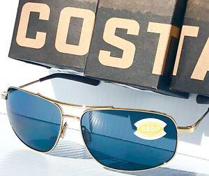 NEW* Costa Del Mar SHIPMASTER Gold Polished Aviator Gray 580P Sunglass SMR 128