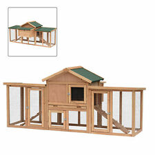 """Pawhut 80"""" Deluxe Wood Chicken Poultry Coop Hens House Nesting Boxes Run Large"""