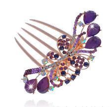 Luxury sparkle crystal violet papillon mariage cheveux accessoires peigne HA174