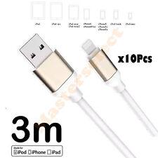 10 x Lunghi cavo 3m per iphone 5 / 6 / 7 Ipad mini caricabatteria presa USB