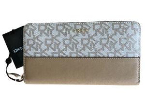 DKNY Bryant Large Zip Around Wallet Khaki Beige Logo Signature Clutch