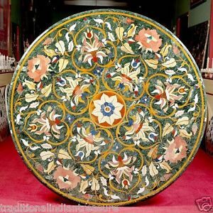 "36"" Green Marble Table Top Handmade Dining Marquetry Furniture Decor"