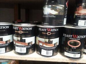 FEAST&WATSON 1 LITRE  MIX colour  STAIN&VARNISH&OILS MIX COLORS