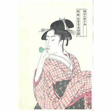 Japan Vintage reprinted woodblock print Ukiyoe Vidro Bijin Utamaro Antique rare