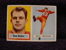 BEAUTIFUL 1957 Topps #72 Sam Baker Card, Washington Redskins, VERY NICE!