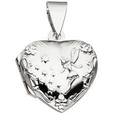 Silbermedaillon Medaillon Herz für 2 Fotos 925 Sterling Silber Anhänger