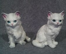 Pair of LEFTON White Persian Sitting Paw Cats Kittens Figurines Porcelain JAPAN