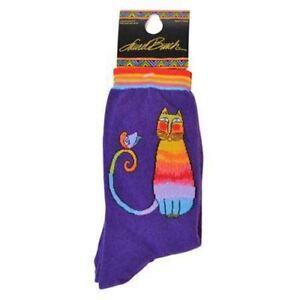 "Laurel Burch Socks  ""Kit Kat"" Cat  - Purple  Size 9-11"
