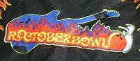 "Bowling Bandana Roctober Bowl Guitar Flames Ball Pin 21.5"" X 19.5"" Black Red EUC"