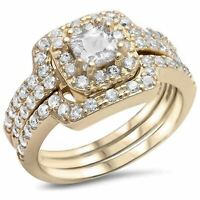 Halo Wedding Engagement Bridal Trio Set Ring Band 925 Sterling Silver Round CZ